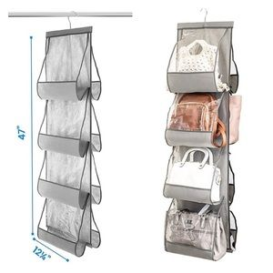 Gray Clear Pocket Handbag Hanging Closet Organizer